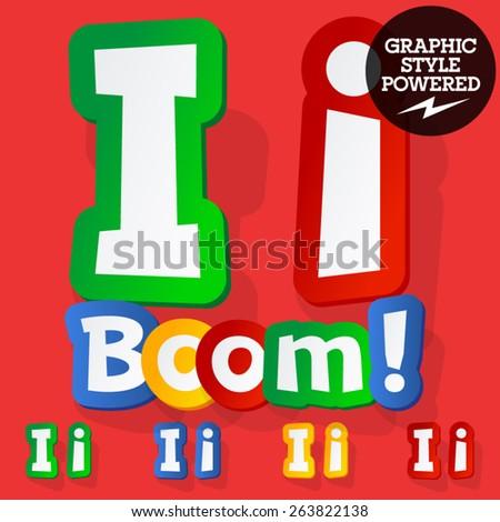 Vector set of bright colorful alphabet for children. Playful sticker font. Letter I - stock vector