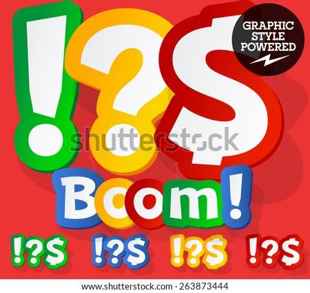 Vector set of bright colorful alphabet for children. Playful sticker font. Symbols - stock vector