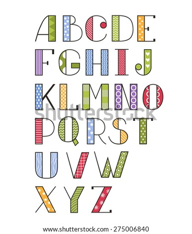 Vector set of bright different letters. Stylish abc. Hand drawing font. Cartoon alphabet. Vector abstract alphabet