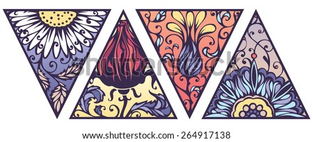 Vector set of bright floral triangles. Floral ornament isolated on white background. - stock vector