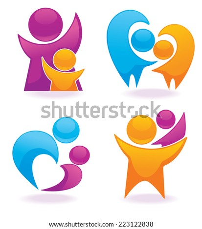 vector set of bright people, family and happiness - stock vector