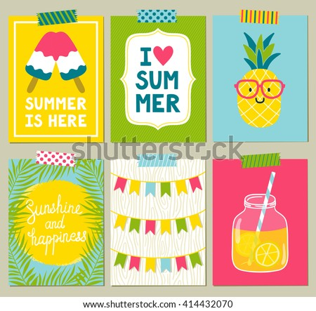 "Vector set of bright summer cards. Beautiful summer posters with pineapple, lemonade, ice cream, sun, palm leaves, phrases ""Summer is here"", ""Sunshine and happiness"", ""I love summer"". Journal cards."