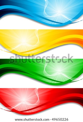 Vector set of bright wave banners; clip-art