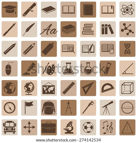 Vector Set of Brown 49 Education Icons. School and University. - stock vector