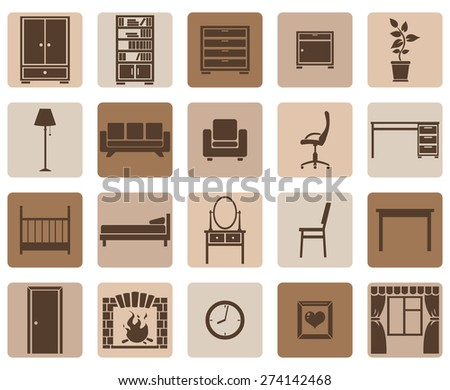 Vector Set of Brown Furniture Icons - stock vector