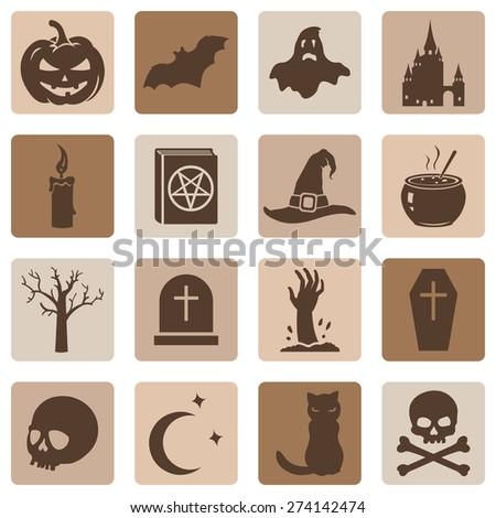 Vector Set of Brown Halloween Icons - stock vector
