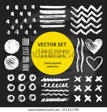 Vector set of brush textures and elements on chalkboard. Hand-painted collection - stock vector