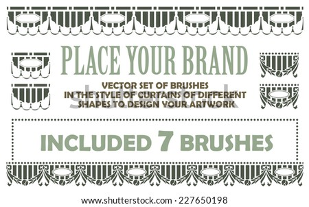 vector set of brushes in the style of curtains of different shapes to design your artwork - stock vector