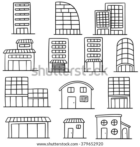 vector set of building - stock vector