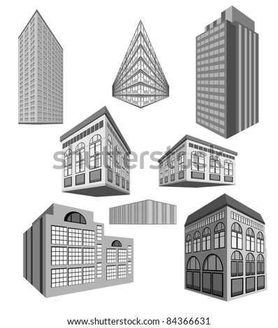 vector set of buildings - stock vector