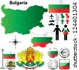 Vector set of Bulgaria country shape with flags, buttons and icons isolated on white background - stock vector