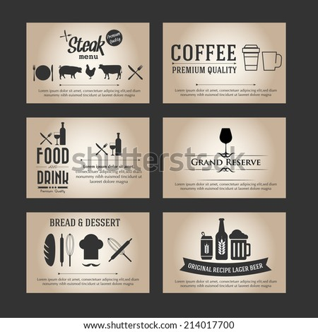 vector Set of business cards. For cafe and restaurant  - stock vector