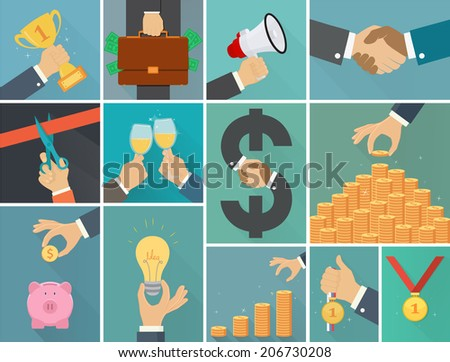 Vector set of business flat illustration - stock vector