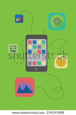 Vector set of business icons and sketched smartphone. - stock vector