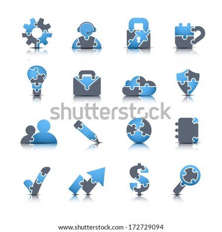 Vector set of business icons made of puzzle. - stock vector
