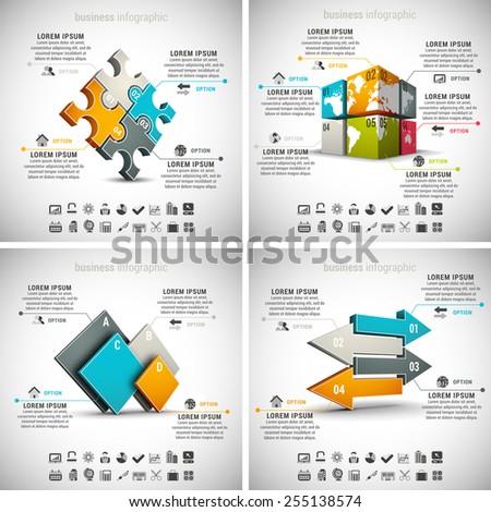 Vector set of business infographics. Vol.5. - stock vector
