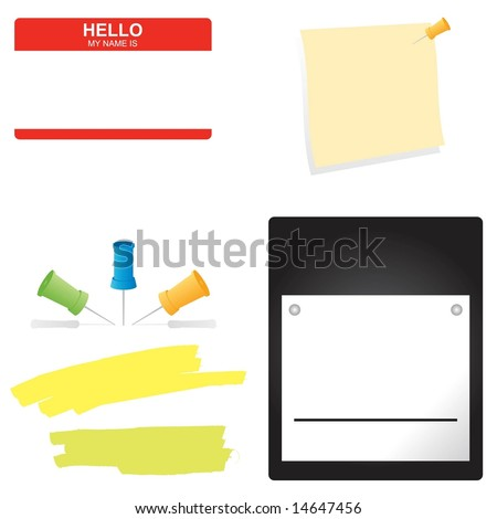 Vector set of business office supplies - stock vector