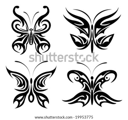 vector set of butterfly - stock vector