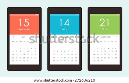 Vector set of Calendar Widget UI for mobile app and web - stock vector
