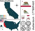 Vector set of California state with flag and icons on white background - stock photo