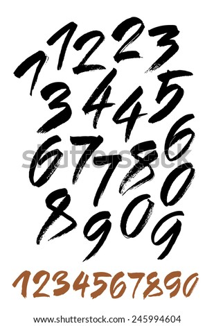 vector set of calligraphic acrylic or ink numbers. ABC for your design.  - stock vector