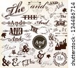 Vector set of calligraphic ands and the elements for design. Calligraphic vector - stock vector