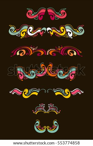 Vector set of calligraphic design elements