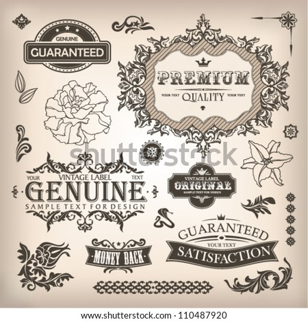 vector set of calligraphic design elements and page decoration - stock vector