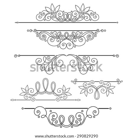 Vector Set of Calligraphic Design Elements and Page Decorations. Collection of Design Elements in Linear Style - stock vector