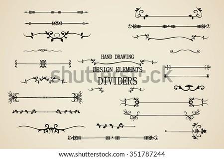 Vector set of calligraphic design elements for decoration, design editable. Hand draw page decor elements. Ornaments dividers, decorative,vintage borders set.Vintage floral elements. Floral decor. - stock vector