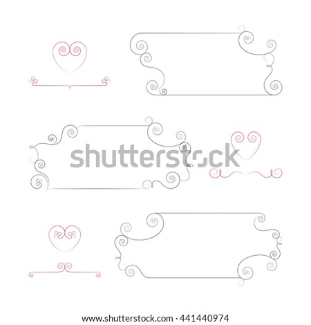 Vector set of calligraphic design elements for page decoration. Set of red and dark elements on the light background. - stock vector