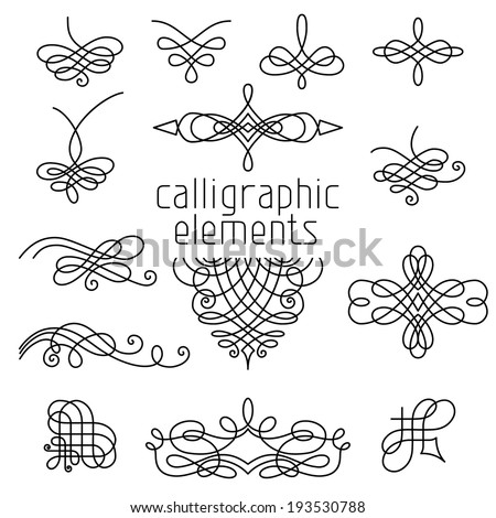 Vector set of calligraphic design elements isolated on white background. Page decorations, dividers, flourishes, vintage frames and headers. - stock vector