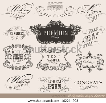 Vector set of calligraphic design elements/ old style