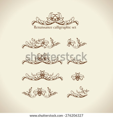 Vector set of calligraphic design elements, page decor, dividers and ornate headpieces