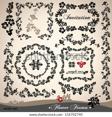 Vector set of calligraphic design elements: page decoration, Flower frames.  - stock vector