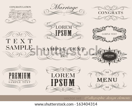 Vector set of calligraphic design elements/ page decoration, guarantee Label, calligraphic frames / vector set