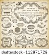 Vector set of calligraphic design elements: page decoration, Premium Quality and Satisfaction Guarantee Label, antique and baroque frames and floral ornaments | Old paper texture with grunge frames. - stock vector