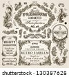 Vector set of calligraphic design elements: page decoration, Premium Quality and Satisfaction Guarantee Label, antique and baroque frames | Old paper texture with dirty footprints of a cup of coffee. - stock vector