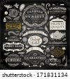 Vector set of calligraphic design elements: page decoration, Premium Quality and Satisfaction Guarantee Label, antique and baroque frames | Chalkboard background. Black illustration variant. - stock