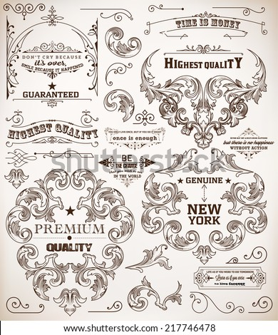 Vector. set of calligraphic design elements: page decoration, Premium Quality and Satisfaction Guarantee Label, antique and baroque frames - stock vector
