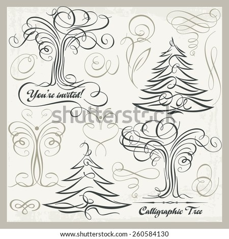 Vector set of 14 calligraphic design elements, trees, butterflies, florals, ornaments, scrolls. Vinyl-ready graphics, great for wall decals, vintage designs and wedding Invitations. - stock vector