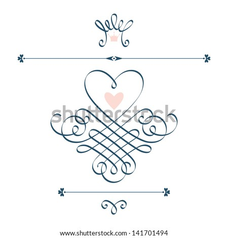 Vector set of calligraphic design elements with motive of hearts, crown, flourish. Abstract cute decorative hand drawn illustration for original greeting, invitation card Valentine's Day, wedding - stock vector