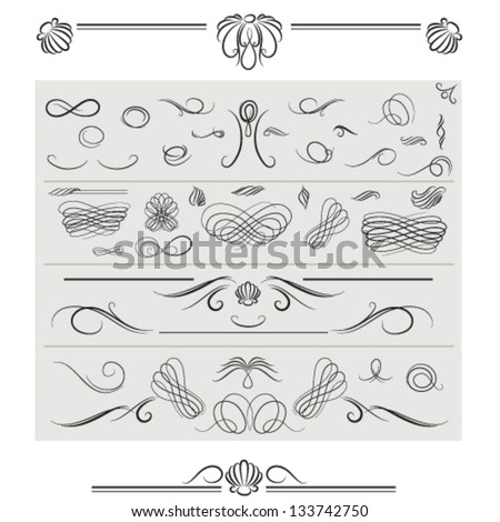 Vector set of  calligraphic elements and page decoration including dividers, baroque shapes and rococo shell motives, classic curves and curly lines - stock vector