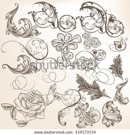 Vector set of calligraphic elements for design - stock vector