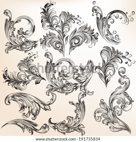 Vector set of calligraphic elements for design. Calligraphic vecto - stock vector
