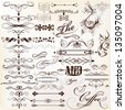 Vector set of calligraphic elements for design. Calligraphic vector - stock photo