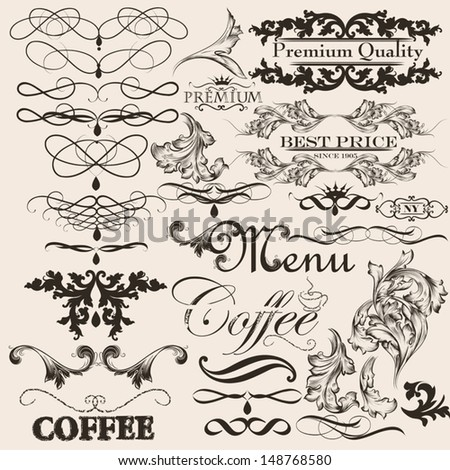 Vector set of calligraphic elements for design. Calligraphic vector
