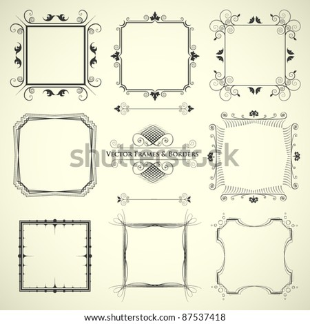vector set of 9 calligraphic frames and borders - stock vector