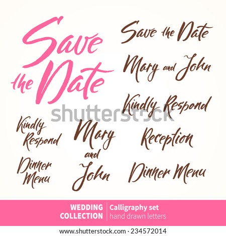 Vector set of calligraphic letters for invitation cards. Wedding typography collection - stock vector