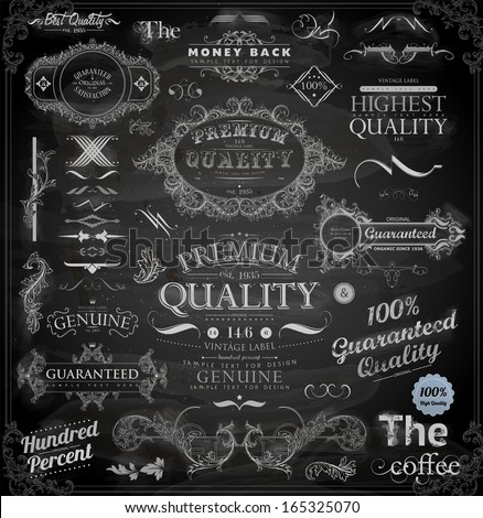Vector set of calligraphic vintage elements: page decoration, Premium Quality and Satisfaction Guarantee Label, antique and baroque frames | Chalkboard background. Black design variant. Chalk style. - stock vector